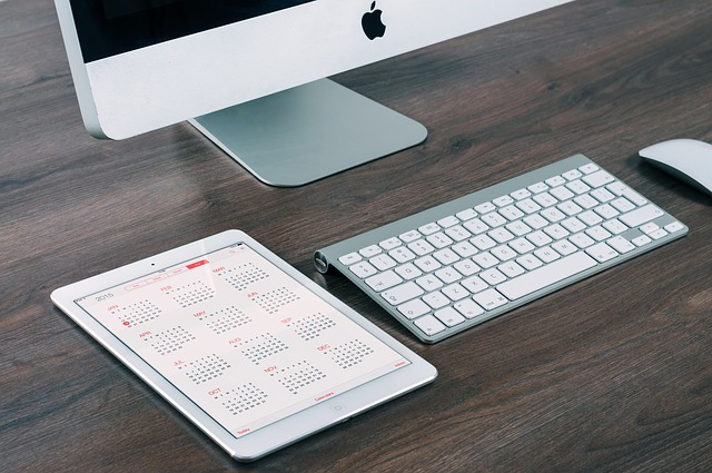Modern workspace with digital calendar