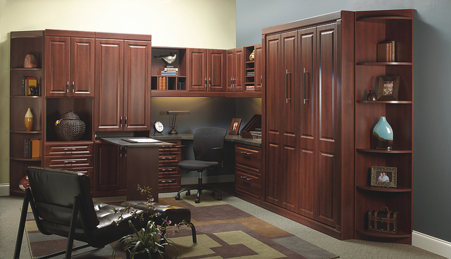 Home office cabinets with wall bed
