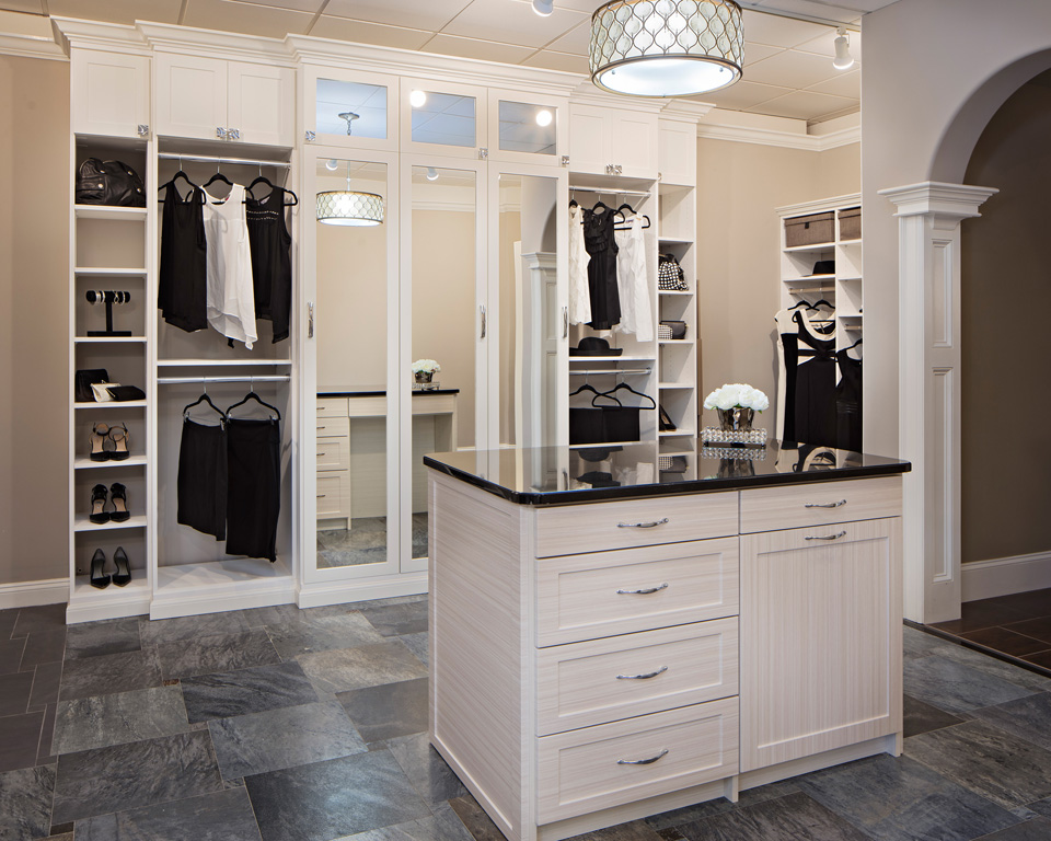 Luxurious custom closet with island