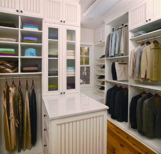 Organized custom closet in white