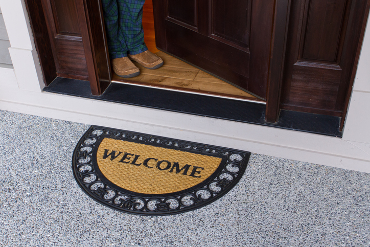 Welcome mat entrance to home