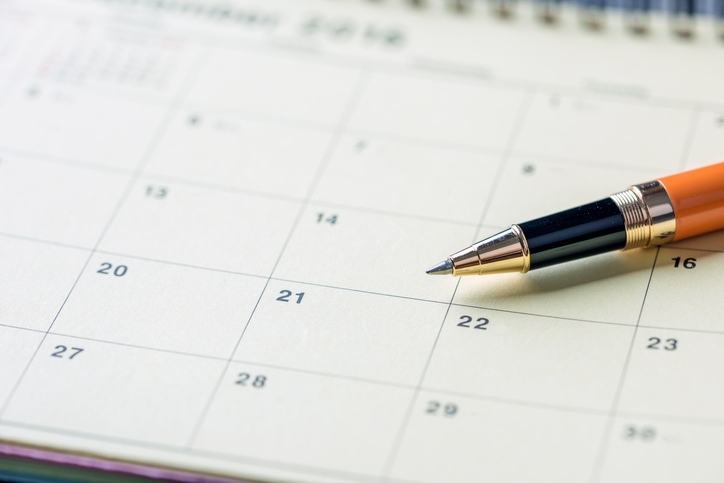 pen on calendar for appointment