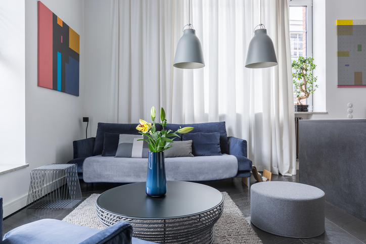 Modern living room in a small apartment