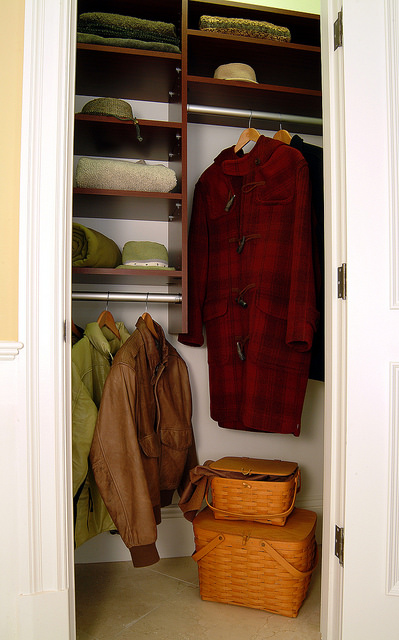 Small custom entryway coat closet