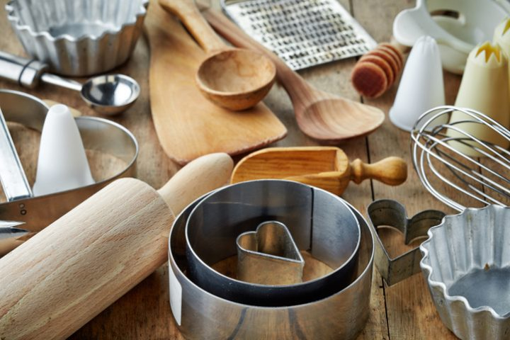 Kitchen utensils on counter