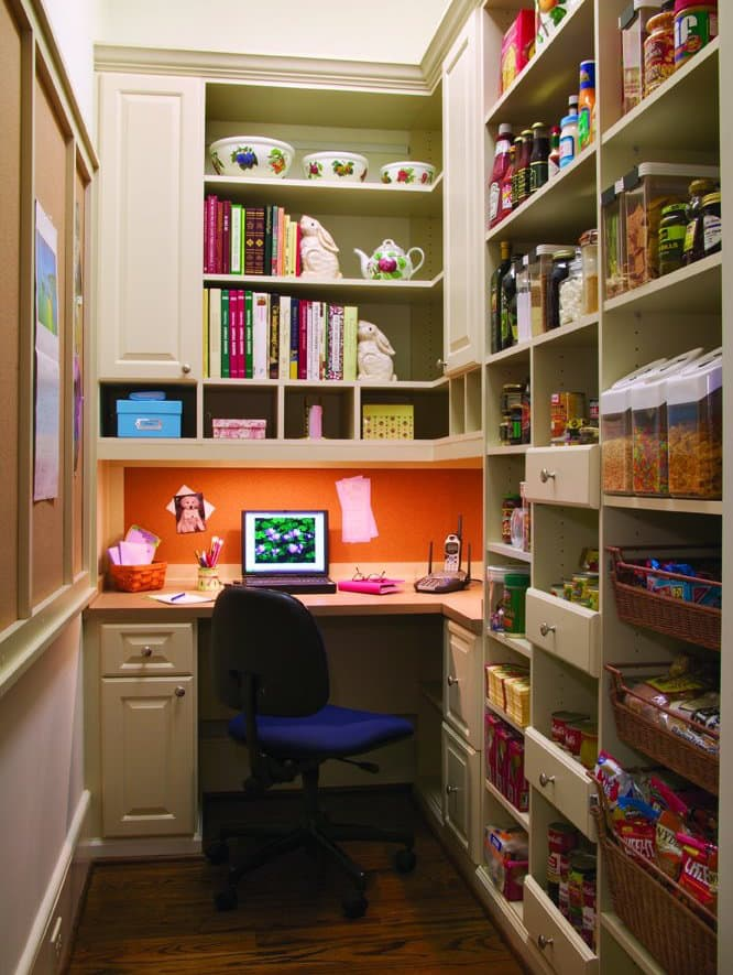 custom pantry storage with desk