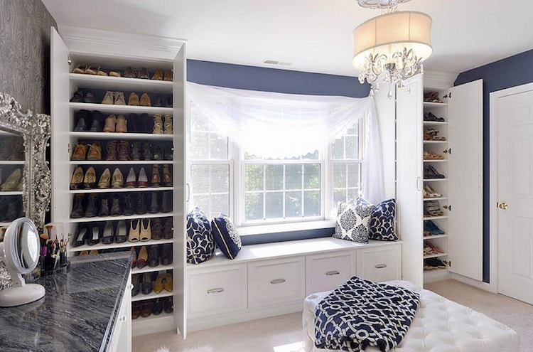 boutique-style custom closet shelving