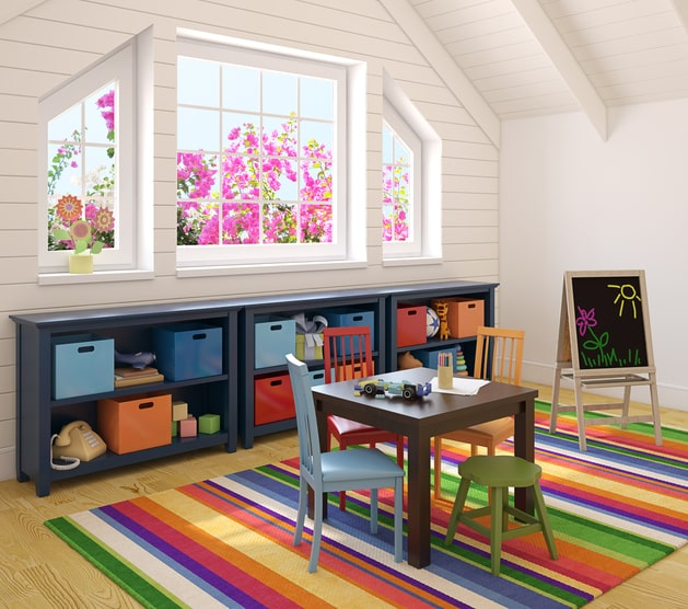 organized and tidy playroom with storage