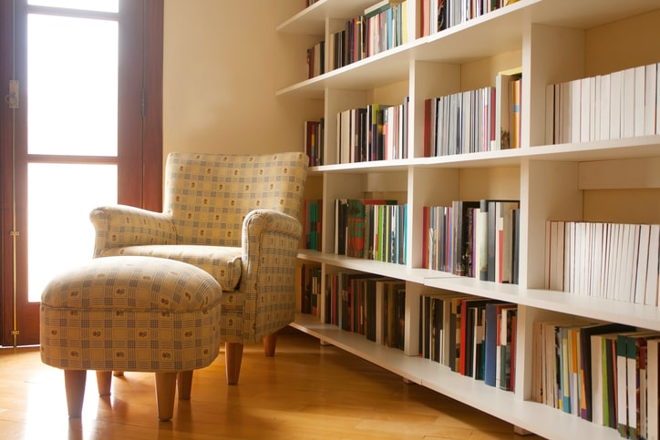 cozy home library with chair