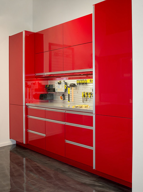 custom garage cabinets in red gloss