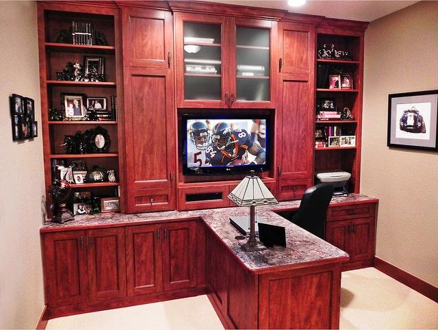 organized custom home office desk and storage