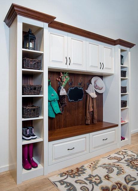 built-in mudroom storage cabinets