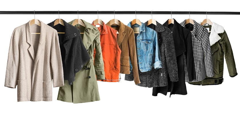 row of jackets hanging concept image